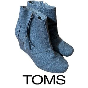 Toms Gray Wedge Ankle Booties Women's Size 7.5